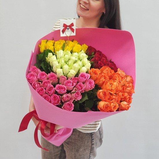 «101 роза 45 см микс»